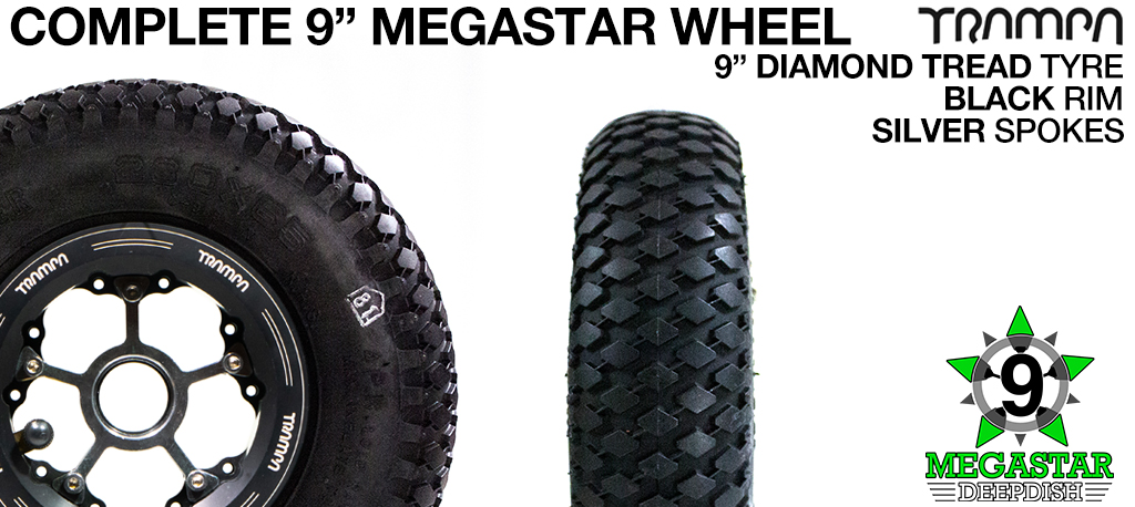 BLACK 9 inch Deep-Dish MEGASTARS Rim with SILVER Spokes & 9 Inch DIAMOND TREAD Tyres