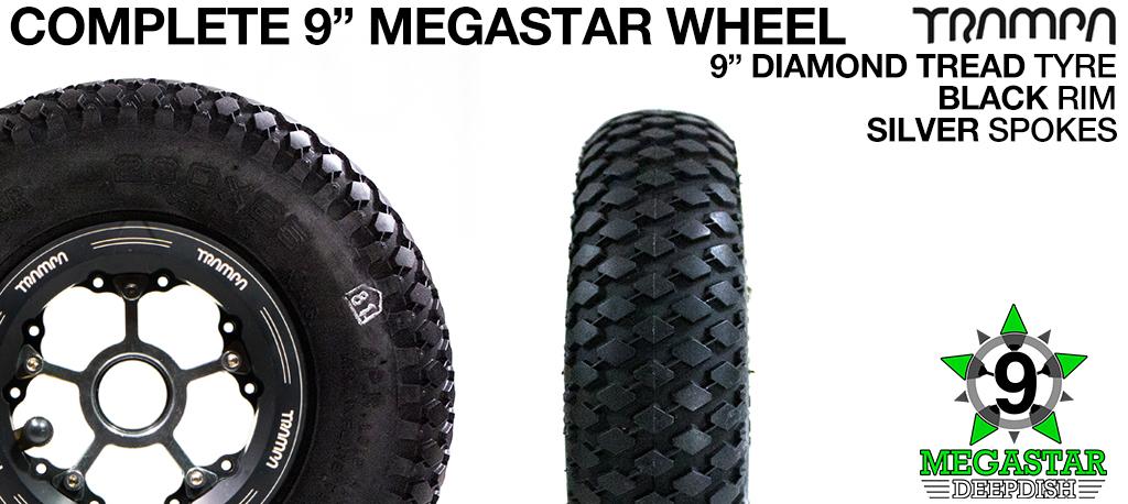 BLACK 9 inch Deep-Dish MEGASTARS Rim with SILVER Spokes & 9 Inch DIAMOND TREAD Tyres