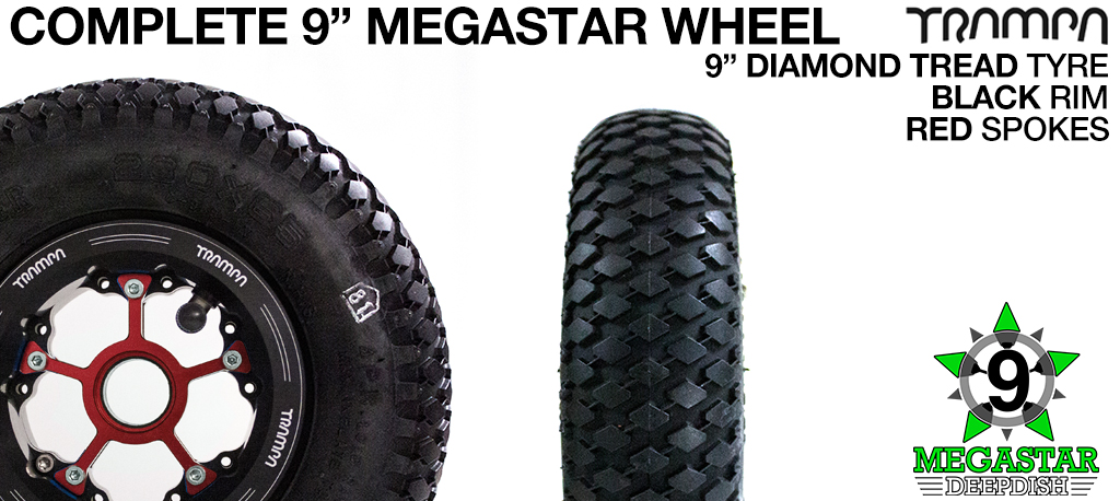 BLACK 9 inch Deep-Dish MEGASTARS Rim with RED Spokes & 9 Inch DIAMOND TREAD Tyres