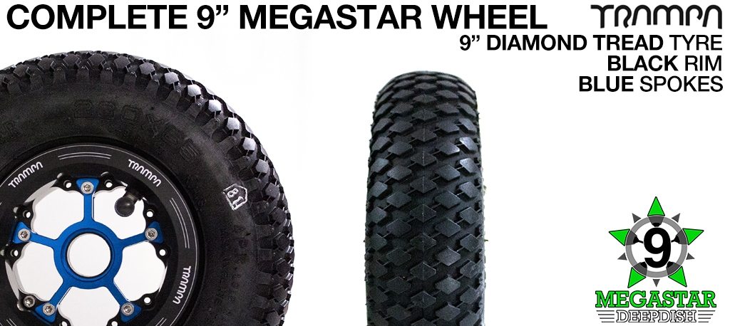BLACK 9 inch Deep-Dish MEGASTARS Rim with BLUE Spokes & 9 Inch DIAMOND TREAD Tyres