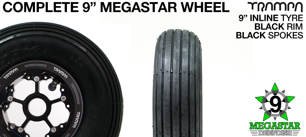 BLACK 9 inch Deep-Dish MEGASTARS Rim with BLACK Spokes & 9 Inch INLINE Tyres