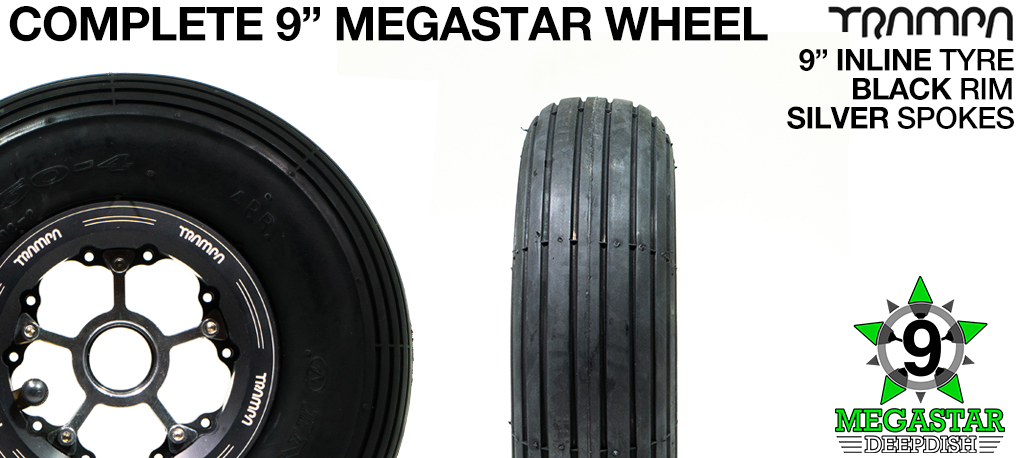 BLACK 9 inch Deep-Dish MEGASTARS Rim with SILVER Spokes & 9 Inch INLINE Tyres