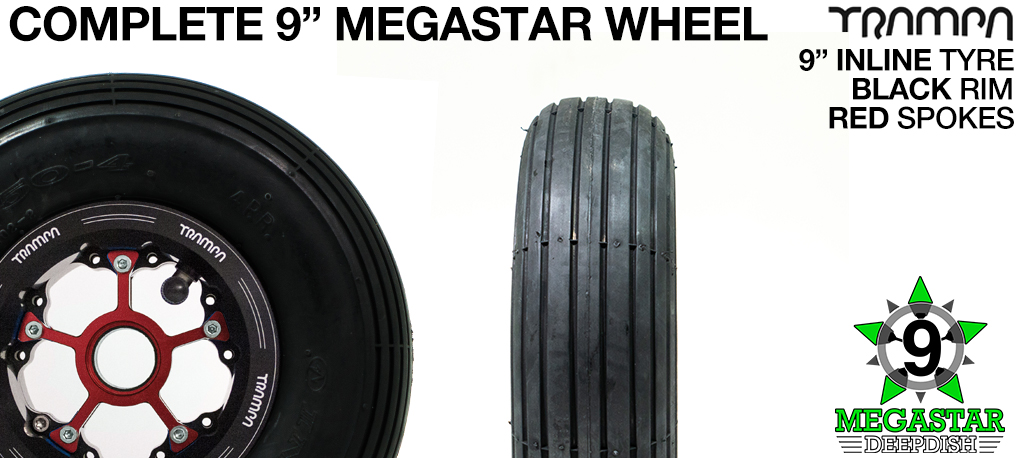 BLACK 9 inch Deep-Dish MEGASTARS Rim with RED Spokes & 9 Inch INLINE Tyres