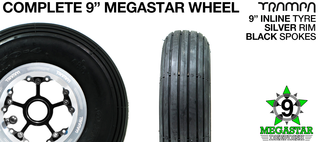 SILVER 9 inch Deep-Dish MEGASTARS Rim with BLACK Spokes & 9 Inch INLINE Tyres
