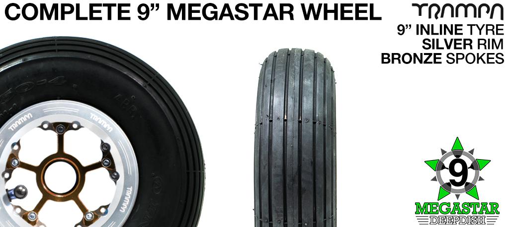 SILVER 9 inch Deep-Dish MEGASTARS Rim with BRONZE Spokes & 9 Inch INLINE Tyres