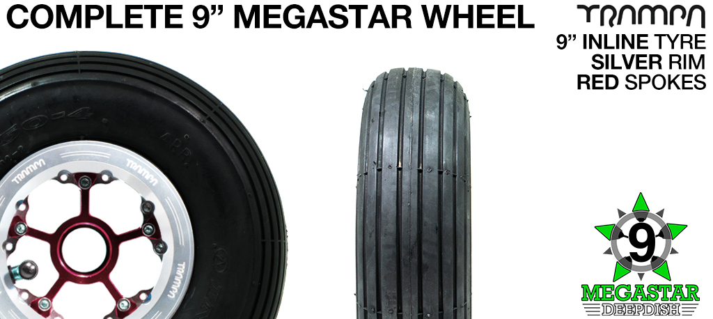 SILVER 9 inch Deep-Dish MEGASTARS Rim with RED Spokes & 9 Inch INLINE Tyres