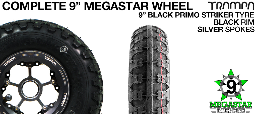BLACK 9 inch Deep-Dish MEGASTARS Rim with SILVER Spokes & 9 Inch BLACK PRIMO STRIKER