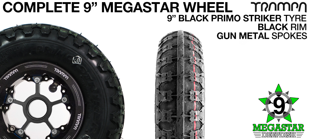 BLACK 9 inch Deep-Dish MEGASTARS Rim with GUN METAL Spokes & 9 Inch BLACK PRIMO STRIKER