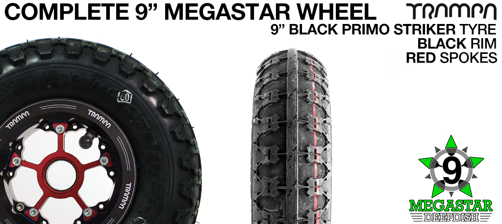 BLACK 9 inch Deep-Dish MEGASTARS Rim with RED Spokes & 9 Inch BLACK PRIMO STRIKER