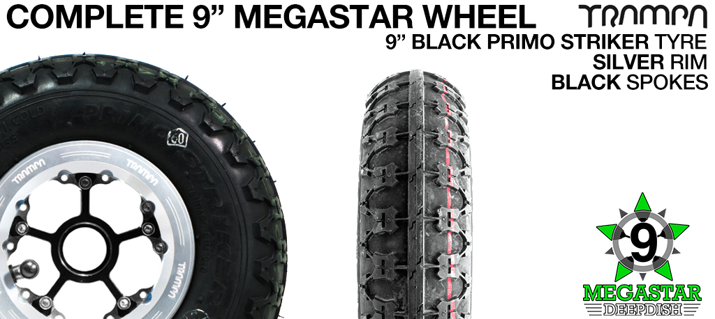 SILVER 9 inch Deep-Dish MEGASTARS Rim with BLACK Spokes & 9 Inch BLACK PRIMO STRIKER