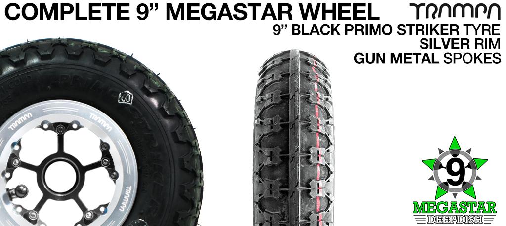SILVER 9 inch Deep-Dish MEGASTARS Rim with GUN METAL Spokes & 9 Inch BLACK PRIMO STRIKER