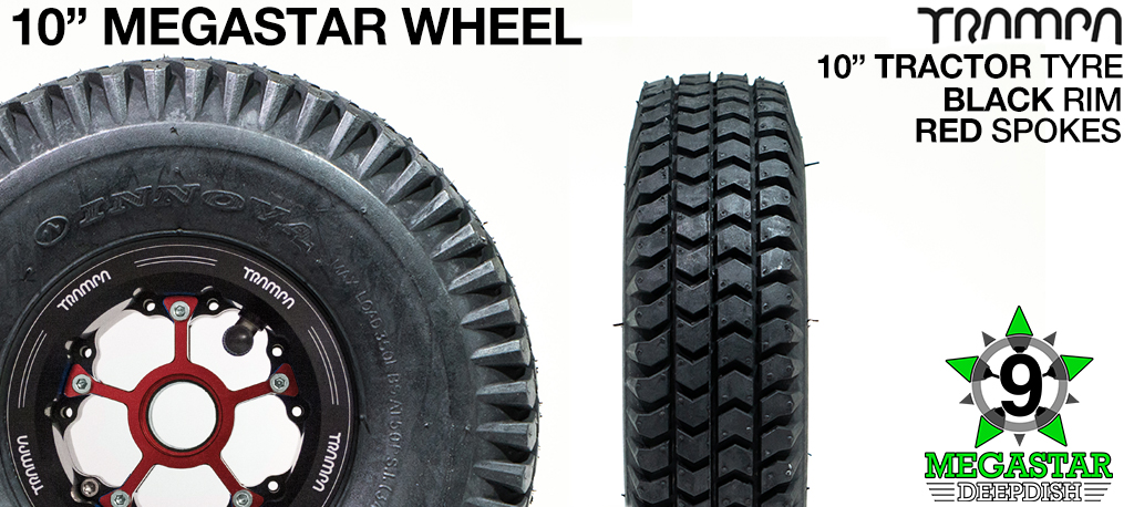 10 inch Wheel - BLACK DEEPDISH MEGASTAR RIMS with RED SPOKES & TRACTOR Tread
