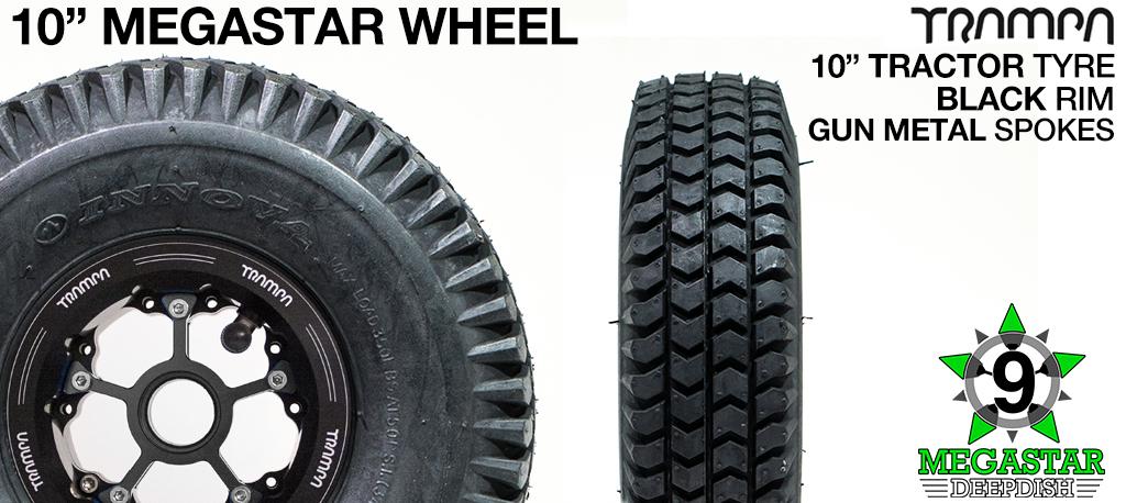 10 inch Wheel - BLACK DEEPDISH MEGASTAR RIMS with GUN METAL SPOKES & TRACTOR Tread