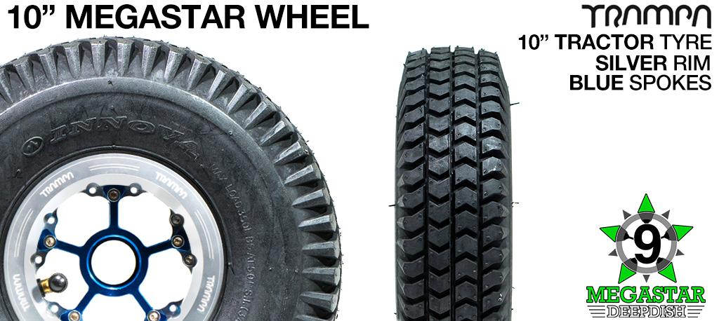 10 inch Wheel - POLISHED DEEPDISH MEGASTAR RIMS with BLUE SPOKES & TRACTOR Tread