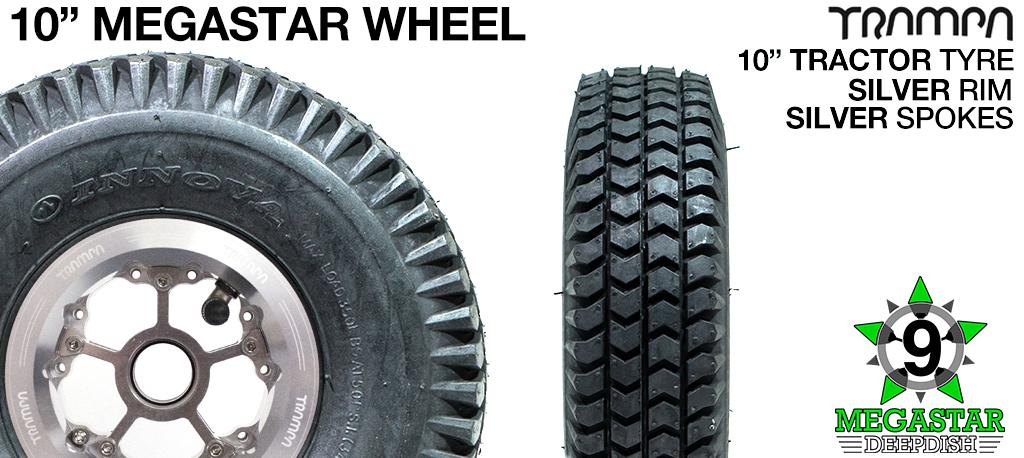 10 inch Wheel - POLISHED DEEPDISH MEGASTAR RIMS with SILVER SPOKES & TRACTOR Tread