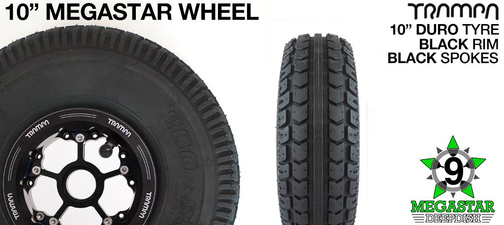 10 inch Wheel - BLACK DEEPDISH MEGASTAR RIMS with BLACK SPOKES & DURO Tread