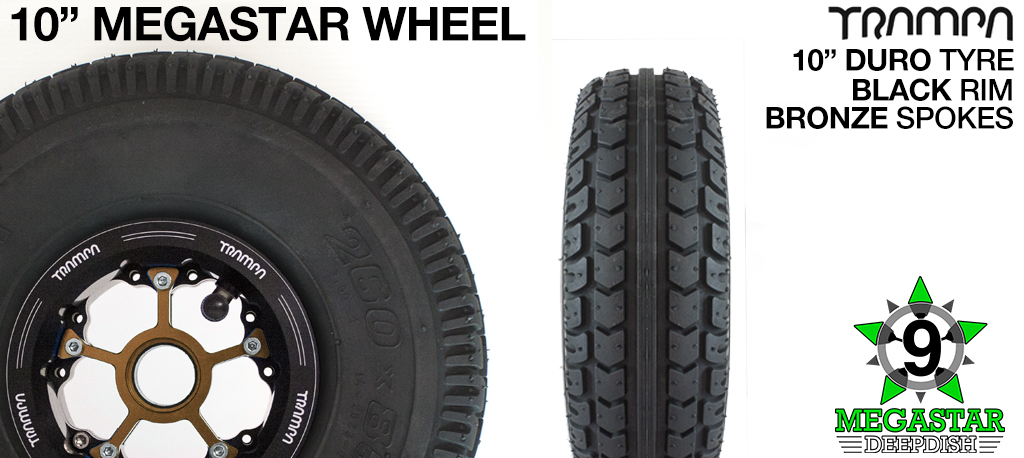 10 inch Wheel - BLACK DEEPDISH MEGASTAR RIMS with BRONZE SPOKES & DURO Tread