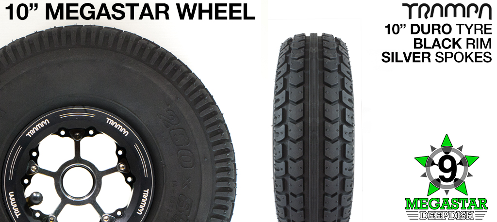 10 inch Wheel - BLACK DEEPDISH MEGASTAR RIMS with SILVER SPOKES & DURO Tread