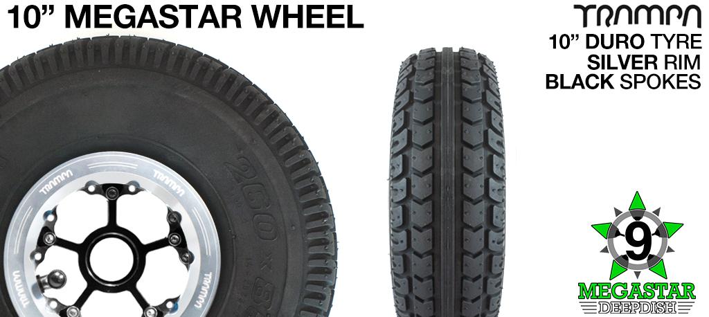 10 inch Wheel - BLACK DEEPDISH MEGASTAR RIMS with SILVER SPOKES & DURO Tread  (COPY)