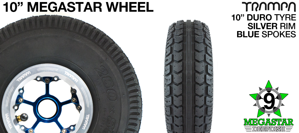 10 inch Wheel - POLISHED DEEPDISH MEGASTAR RIMS with BLUE SPOKES & DURO Tread