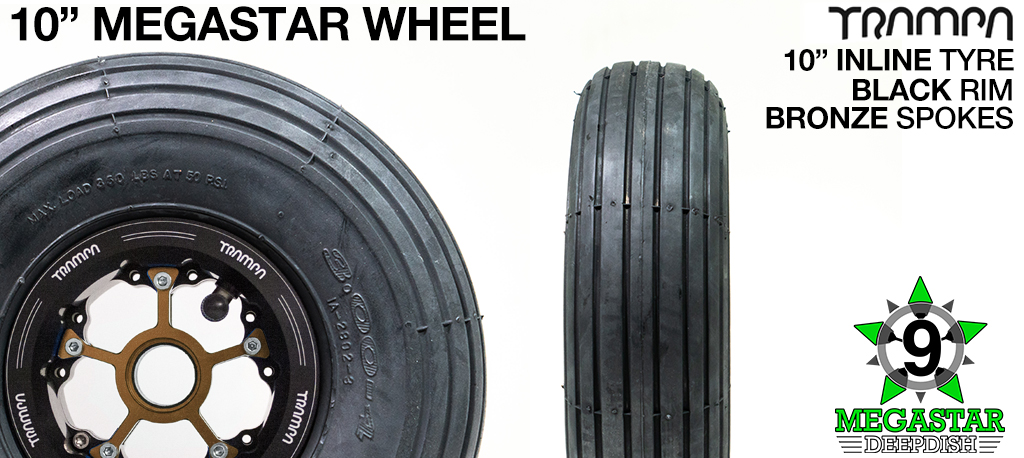 10 inch Wheel - BLACK DEEPDISH MEGASTAR RIMS with BRONZE SPOKES & INLINE Tread