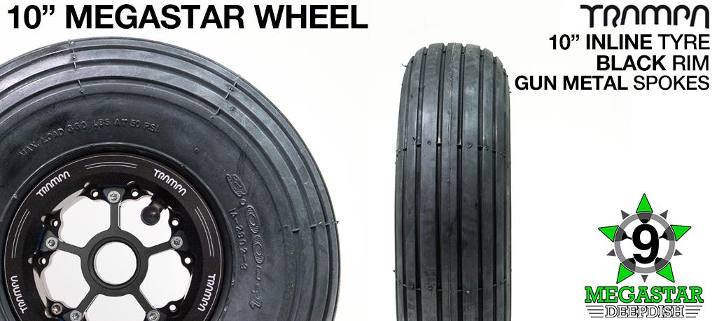 10 inch Wheel - BLACK DEEPDISH MEGASTAR RIMS with GUN METAL SPOKES & INLINE Tread