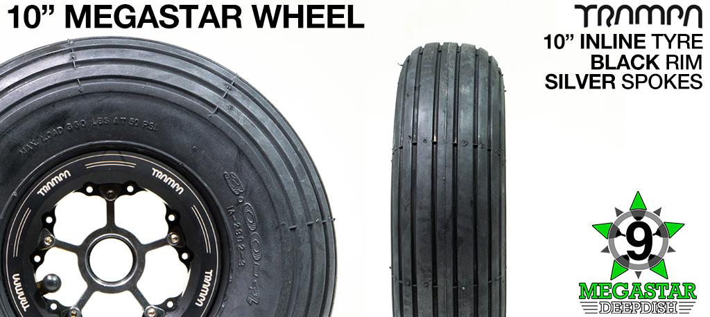 10 inch Wheel - BLACK DEEPDISH MEGASTAR RIMS with SILVER SPOKES & INLINE Tread
