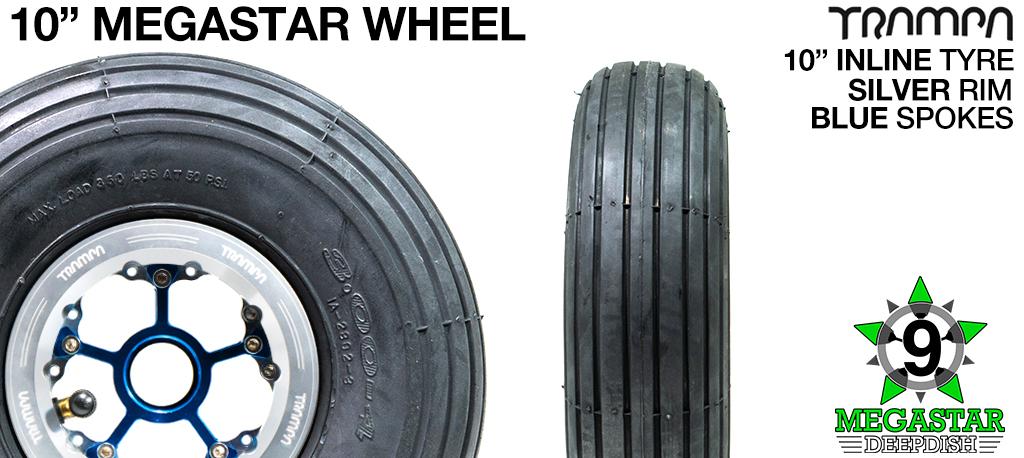 10 inch Wheel - POILSHED DEEPDISH MEGASTAR RIMS with BLUE SPOKES & INLINE Tread