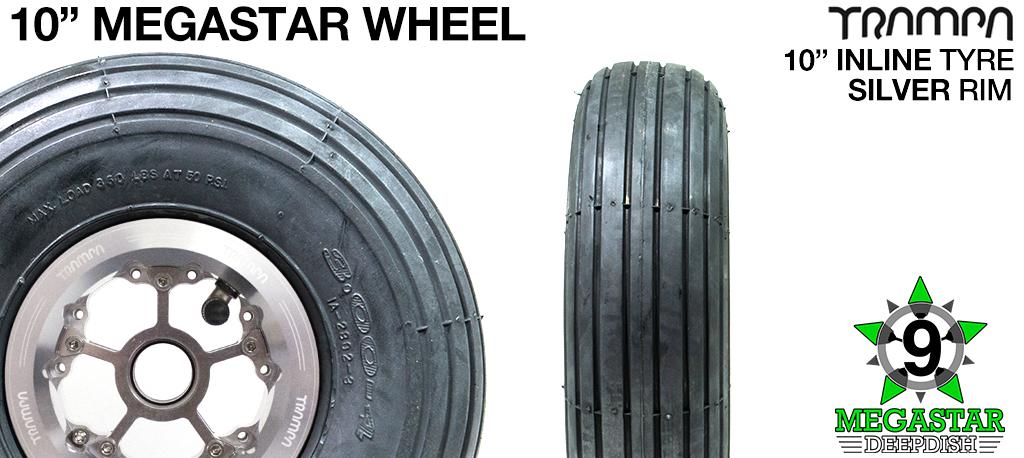 10 inch Wheel - POILSHED DEEPDISH MEGASTAR RIMS with SILVER SPOKES & INLINE Tread