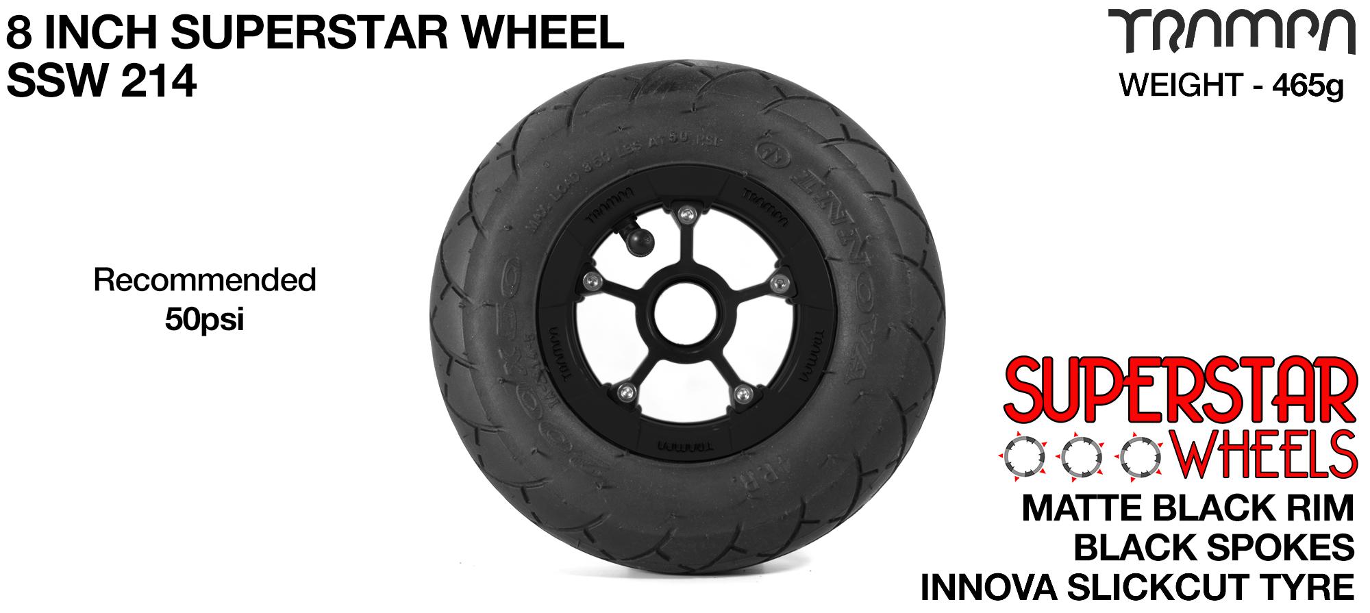 Superstar 8 inch wheels - Matt Black Superstar Rim with Black Anodised spokes & Black SLICK cut 8 inch Tyre