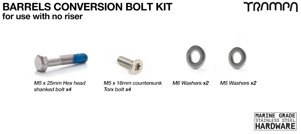 Complete BARRELS Bolt fitting conversion Kit - No Riser