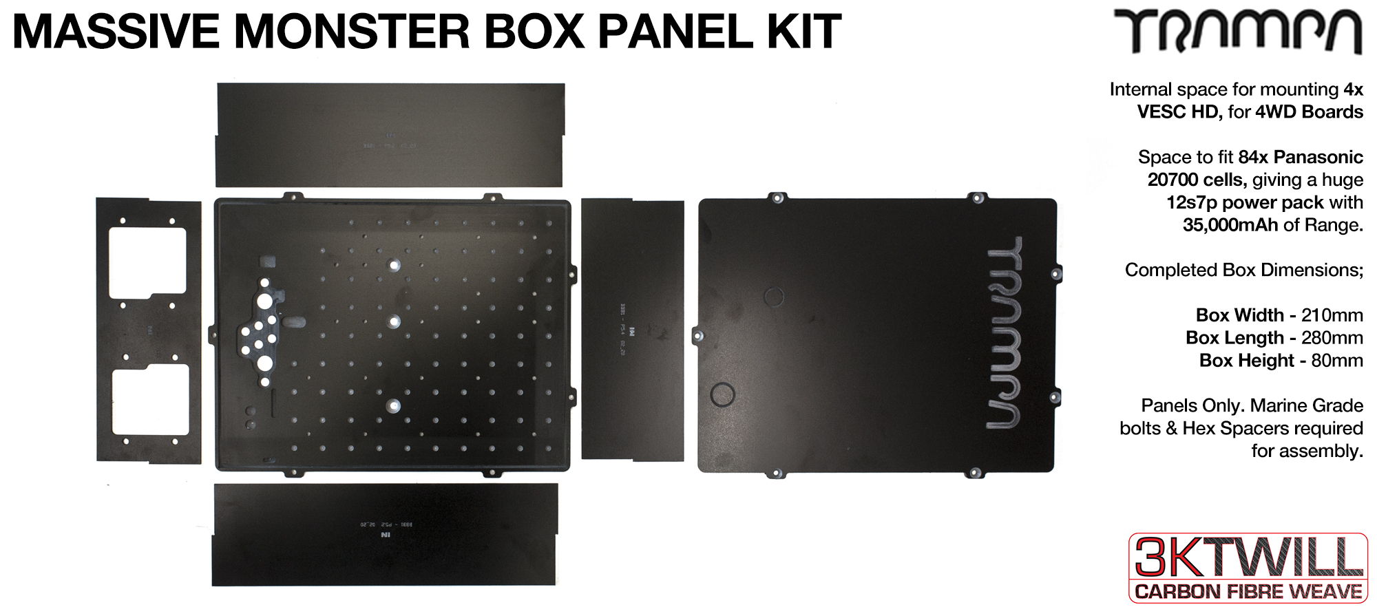 2WD MASSIVE MONSTER Box 35A BATTERY PACK Complete Box Glass Fiber Panel Kit with internal chamber for upto 4x VESC HD