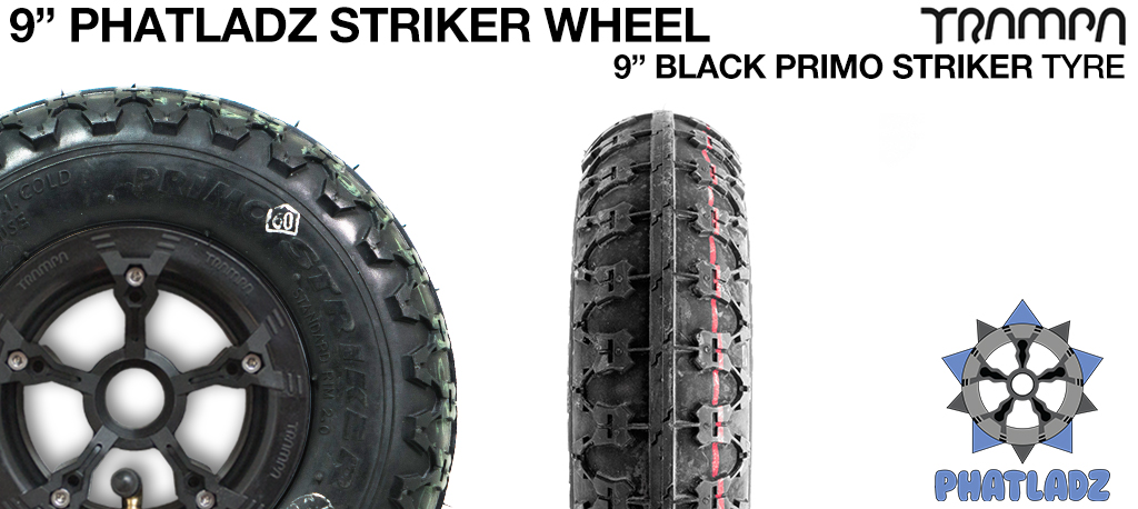 PHATLADS 5 spoke hubs with BLACK 9 Inch Striker Tyres