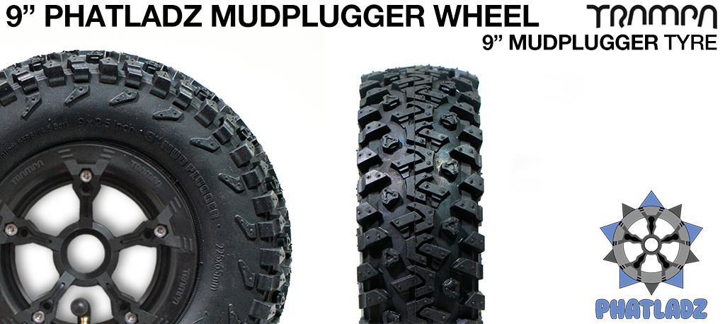 BLACK PHATLADZ Deepdish hub with 9 Inch TRAMPA MUD-PLUGGER Tyre