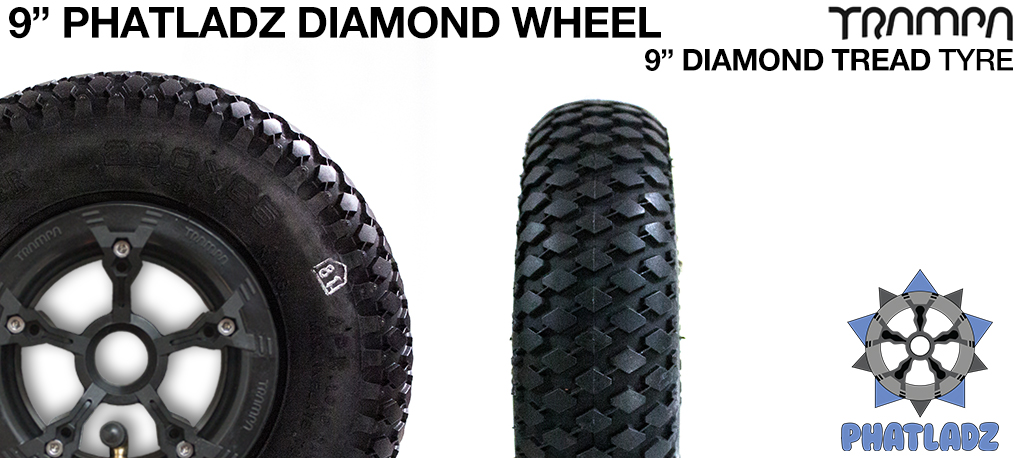 PHATLADS hubs with 9 Inch DIAMOND Tread Tyre