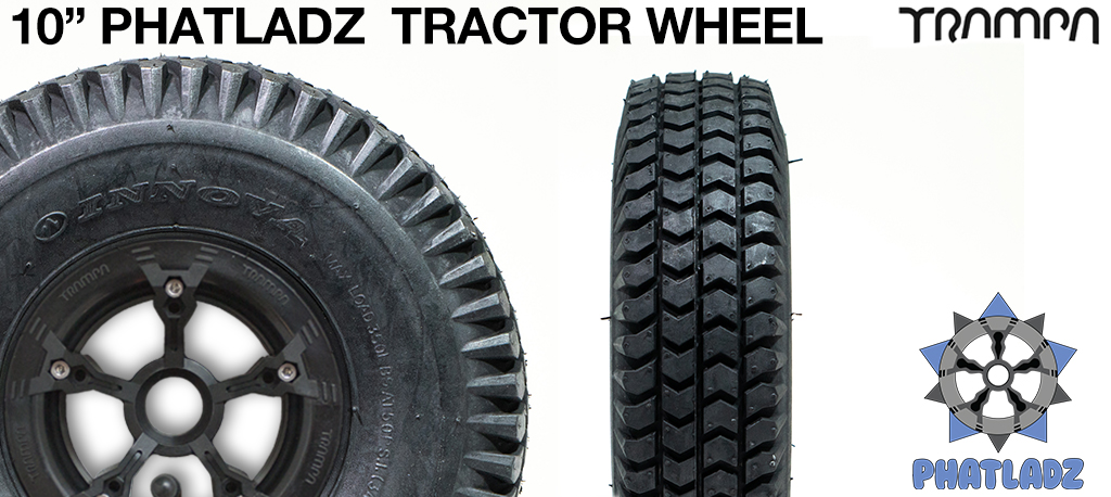 BLACK PHATLADZ Deepdish hub with 10 Inch INNOVA TRACTOR-Tread Tyre