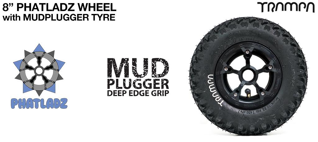 BLACK PHATLADZ Deepdish hub with 8 Inch TRAMPA Mud-Plugger 8 Inch Tyre