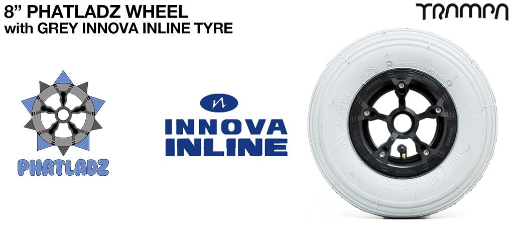 BLACK PHATLADZ Deepdish hub with 8 Inch INNOVA Inline 8 Inch Tyre