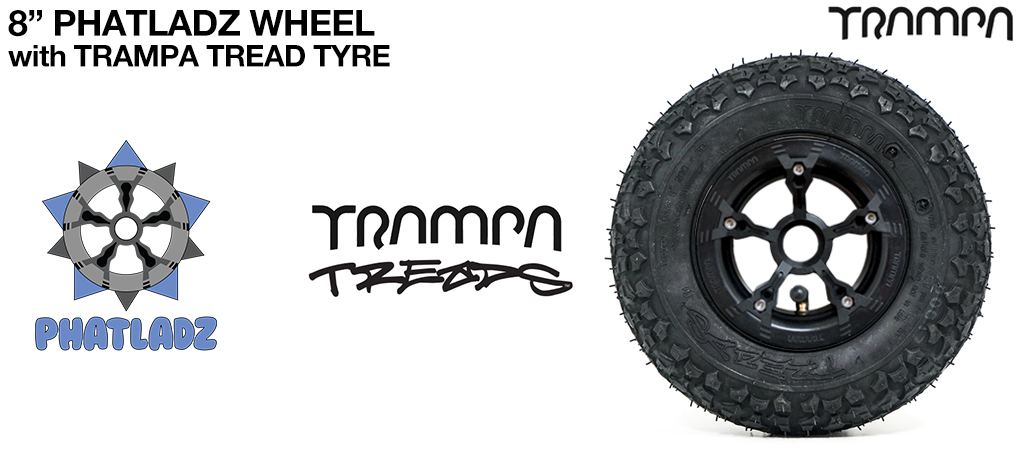 BLACK PHATLADZ Deepdish hub with 8 Inch TRAMPA TREADS 8 Inch Tyre