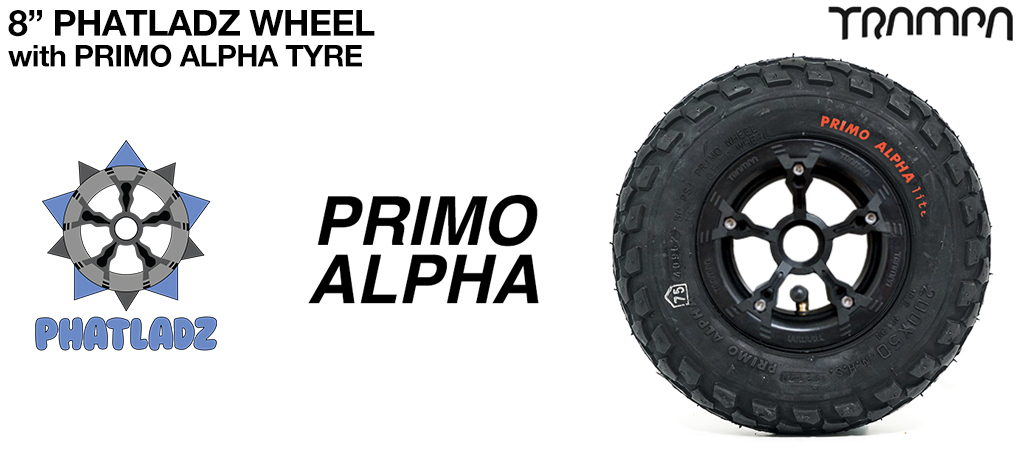 BLACK PHATLADZ Deepdish hub with 8 Inch PRIMO ALPHA 8 Inch Tyre