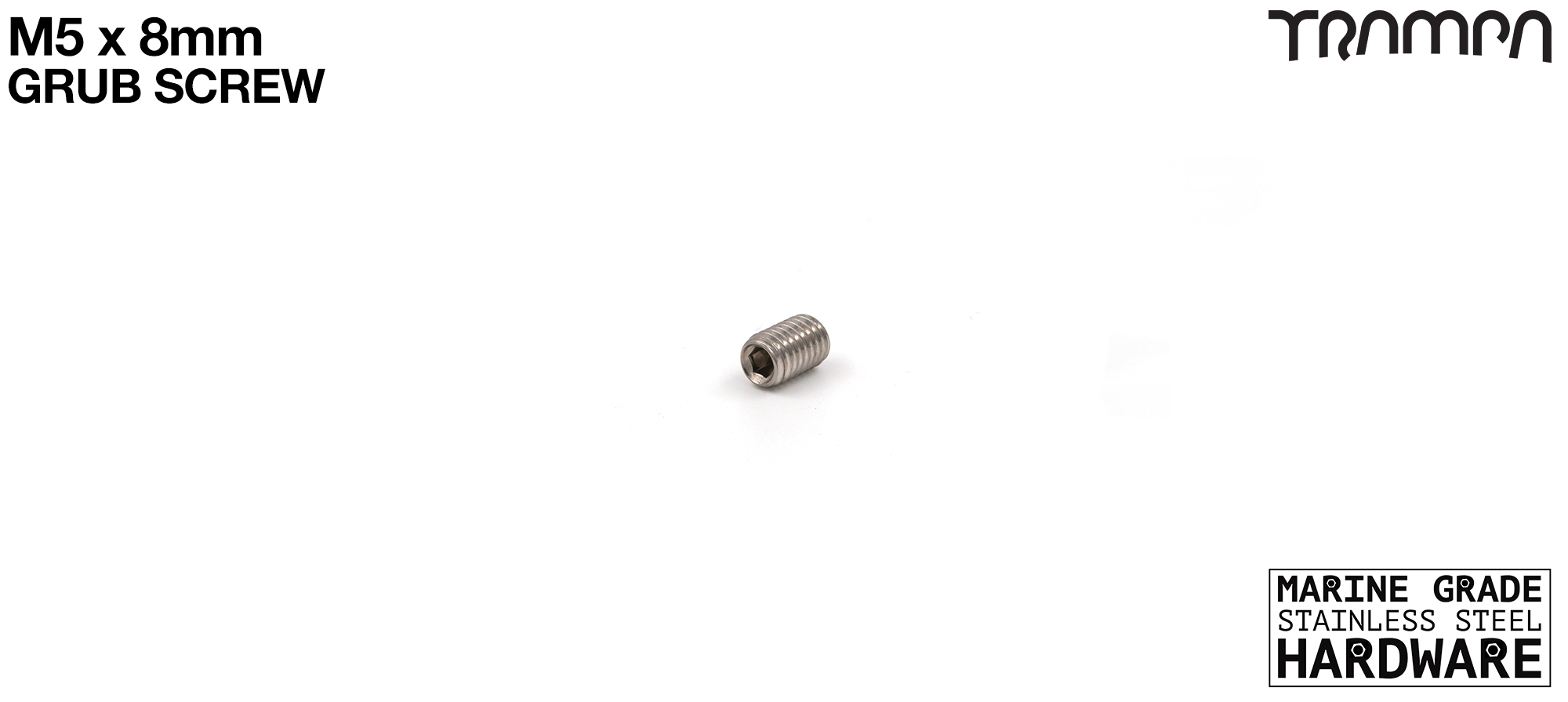 M5 x 8mm Grub Screw Marine Grade Stainless Steel - Used in bull bar assembly