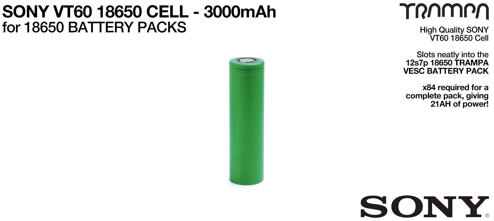18650 Cells - SONY VT60 3000mAh