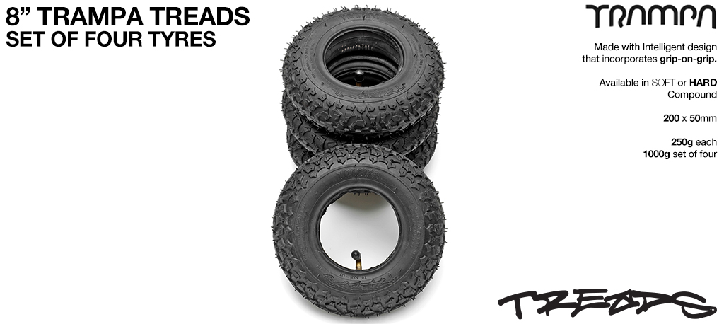 TRAMPA TREADS  General purpose Dirt TYRES - 8 Inch Tyre SET