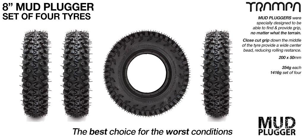 TRAMPA MUD-PLUGGER Tyre  8x 2x 3.75 fits 3.75 Inch set of 4 - NEW