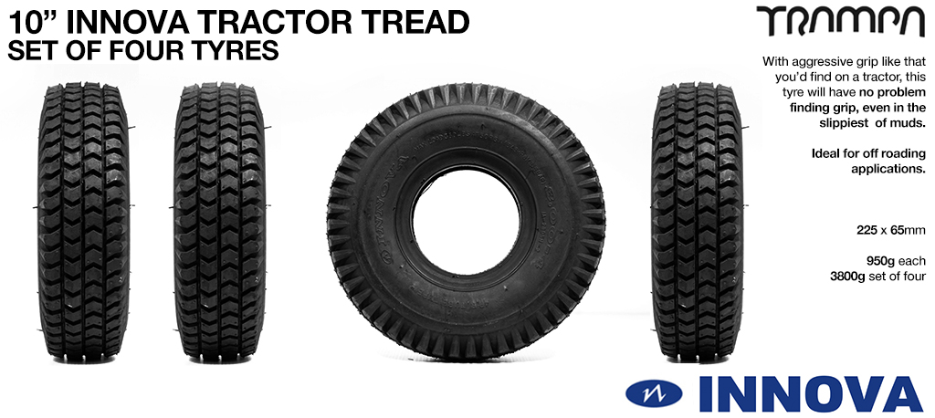 Set of four 10 inch Tractor Tread Tyres