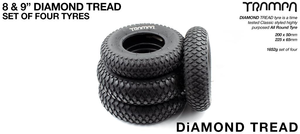 9 Inch DIAMOND TREAD Tyre Set