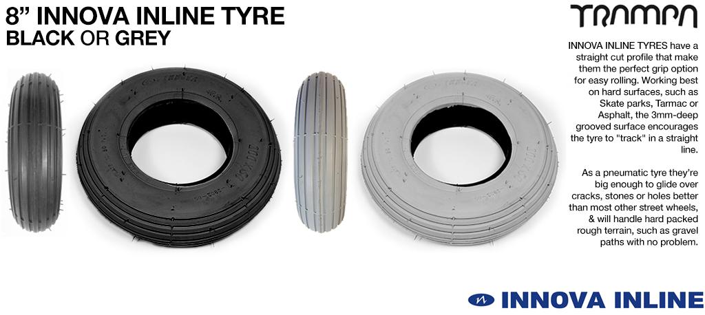 8 Inch BLACK INLINE Tyres - All Round