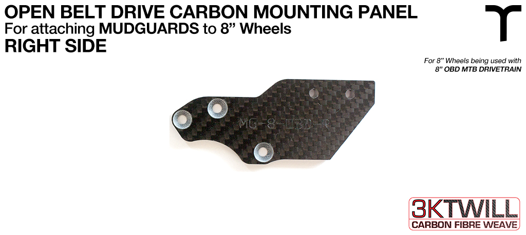 8 inch Mud Guard 3mm Carbon Fibre OPEN BELT DRIVE Mounting Panel - RIGHT