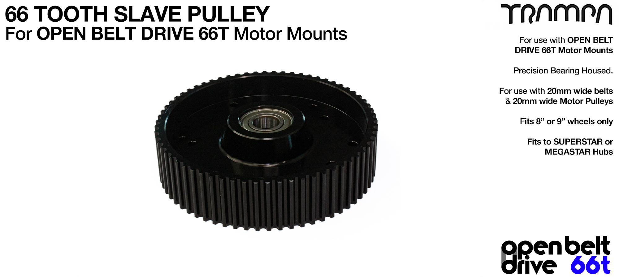 66 Tooth Slave Pulley with Pressed bearing - 20mm OPEN BELT DRIVE Motor Mounts