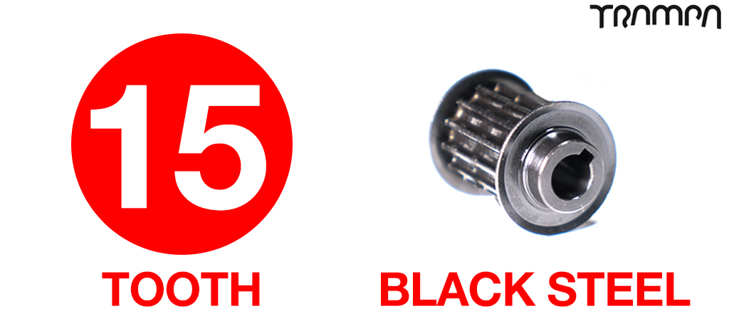 15 Tooth 20mm Wide BLACK Steel Motor Pulley - Great Top Speed